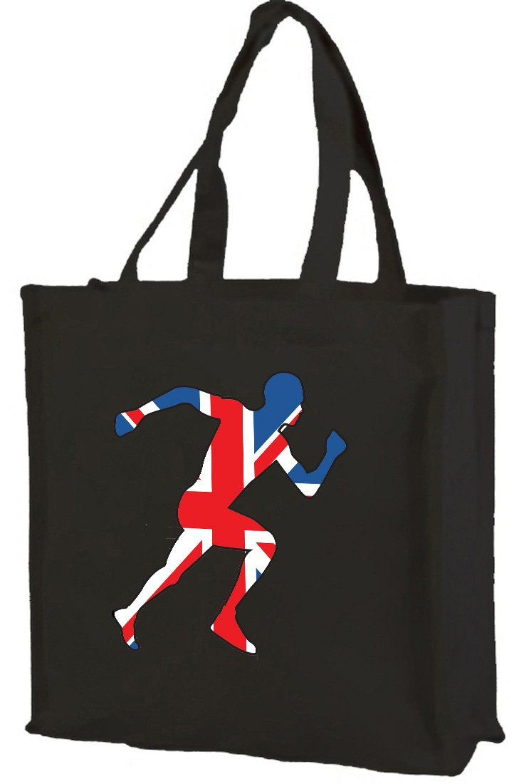 Union Jack atleta cotone shopping bag, nero