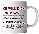 vanVerden Tasse Ich will dich heute & morgen Ich liebe dich inkl. Geschenkkarte, Farbe:Weiß/Rot
