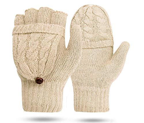 QSEVEN Frauen Cabrio Handschuh Zopf Handschuh Half Finger -