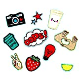 #7: MagiDeal 10 Pieces Embroidered Motif Sew Iron on Applique Gesture Star Camera DIY Patches for Kids Clothing Hat Bag Decoration