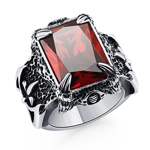 Anillo de garra de dragón alto polaco Anillo de caballero banda de zirconia rojo Anillo gótico de cristal para hombre
