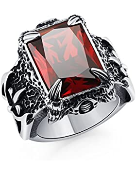 DALARAN Edelstahl Ringe für Männer Jungen Cool Drachen Klaue Ringe Männer gotisch Crystal Band Mehrfarbig