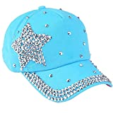 Elodiey Unisex Schirmmütze Herren Damen Mode Hut Shaped Strass Star Outdoor Casual 20er Jahre Sport Sunscreen Kappe Basecap (Color : Blau, Size : One Size)