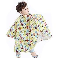 Highdas Children Big Eaves Hat Poncho Baby Kids Environmental Tasteless Raincoat Beige Owl/85-95cm