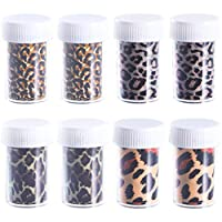 Beaupretty Nail Foil Transfer Sticker Leopard Print Nail Art Wrap Nail Adhesive Stickers for DIY Christmas,8Bottle(Mixed Color)