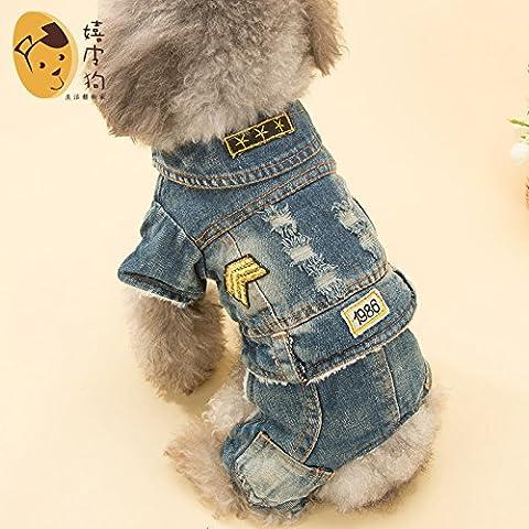 YU-K Cani abbigliamento abbigliamento piccolo cane mezzo abbigliamento abbigliamento cane cane grande abbigliamento elegante cowboy , Blu serie L