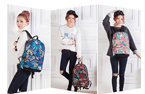 Otomoll Täglich Frauen Rucksack Für Schule Teenager Mädchen Blumen Bedruckt Nylon Reisen Rucksäcke Casual Floral Rucksack D