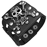 New In Imported Product Black Leather Alloy Rose Pirate Skull Crossbones Snap Wristband Mens Bracelet