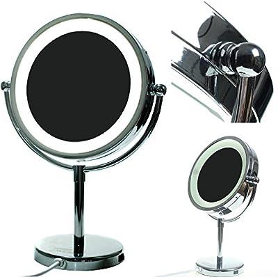 HIMRY® LED Cosmética Espejo 8,5 pulgadas, de aumento con luz, espejo de pie, enchufe español, Espejos para baño, espejo de mesa, Espejo 360 ° de rotación, 21,5 cm Espejos, con cara Doble: Estándar + 3/5/7/10 aumentos. KXD-3134
