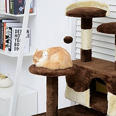PawHut Cat Tree Kitten Scratch Scratching Post Climb Scratcher Activity Center Play Fun House 132cm