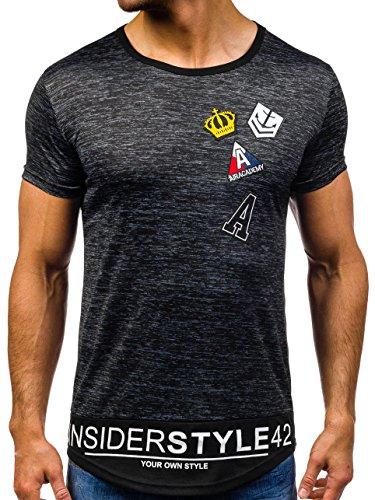 BOLF Herren T-Shirt Tee Kurzarm Aufdruck Print Camo Lang Slim Fit Mix 3C3 Motiv Schwarz_S006