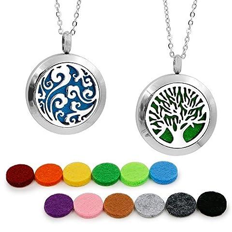 2 pendentifs pour collier aromathérapie - diffuseurs d'huiles essentielles - hypoallergénique - médaillon en acier inoxydable avec chaîne de 58,4 cm - 12 recharges - cadeau de Saint Valentin