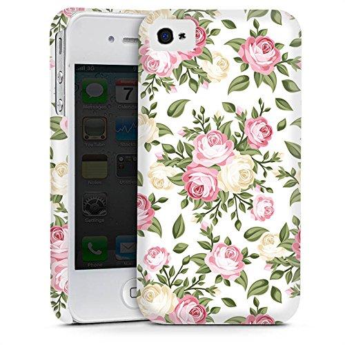 Apple iPhone 4 Housse Étui Silicone Coque Protection Fleur Roses Roses Cas Premium mat