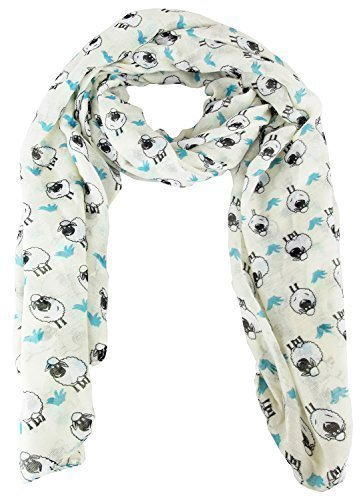 city-girl-ladies-sheep-print-chiffon-scarf-ornamental-kerchief-one-size-cream