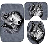 Eureya Juego de alfombrillas de baño de 3 piezas con diseño de lobo de franela antideslizante...