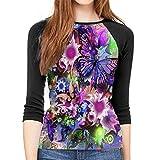 Henrnt T-Shirt Manica a 3/4 Donna 3D Butterfly Flower DIY Drawing Paint Print T-Shirt Casual Crew Neck Tops Tee