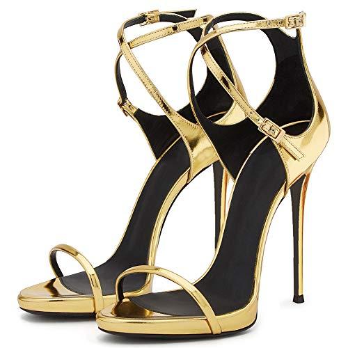 TYXWF Stilettos Kreuz schnappt Sich Fine Heel hochhackige Sandalen Hofschuhe,Gold,42 (Größe 13 Breite Kleid Schuhe Frauen)