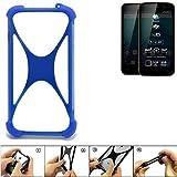 K-S-Trade Bumper Allview P6 Plus Silikon Schutz Hülle Handyhülle Silikoncase Softcase Cover Case Stoßschutz, blau (1x)