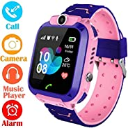 AMERTEER Kids Smart Watch Phone, Kids GPS Tracker Watch with SOS Anti-Lost Alarm Sim Card Slot Touch Screen Sm