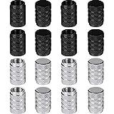 Bememo 16 Piezas de Tapa de Válvula de Neumático Tapa Anti-Polvo de Rueda de Coche de Aluminio (Negro y Plateado)