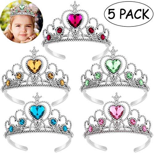Toyvian Prinzessin Tiara Krone | Kunststoff-Spielzeug Mädchen Krone, 5er Hochzeit Gefälligkeiten Set