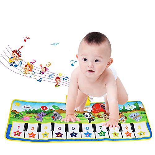 Children�s Musical Toys, BELLESTYLE Baby Musical Game Carpet Mat Musical Instrument Toy Touch Play Keyboard Gym Play Mat for Kids (Blue)