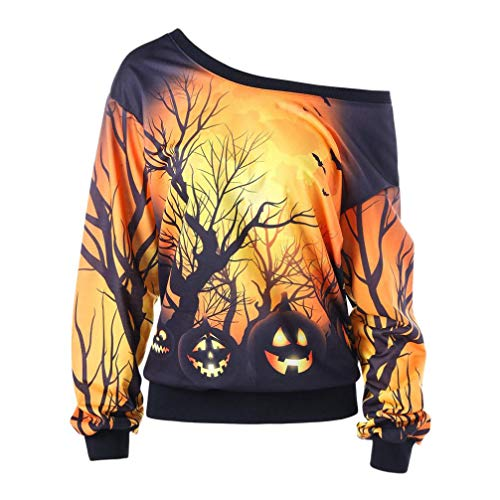 VEMOW Custume Damen Halloween Party Skew Neck Herbst Frühling Kürbis Print Casual Party Täglich...