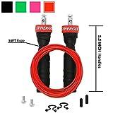 Speed Rope Synergee RX Rosso brillante Corda per saltare - (2) Cavi regolabili da 3 mt - Cuscinetti a sfera in acciaio - Per CrossFit, MMA, Boxing e Fitness, Impugnature antiscivolo.
