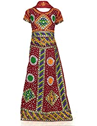 RANGREJA Gujrati Traditional Maroon Lehenga Choli For Girls