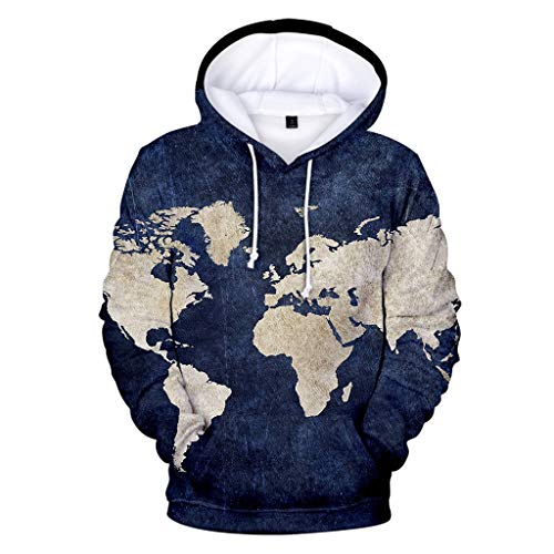 Tasca felpe con cappuccio uomo,yanhoo maglioni 3d stampe girocollo manica lunga pullover manica lunga autunno inverno maglia retro camicia polo tops hoodies sweatershirt blu scuro m