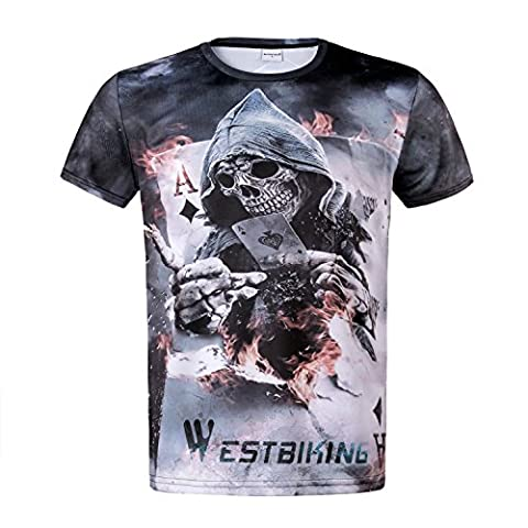 West Biking Mens T-Shirt Screen Printed Short Sleeve Cool Skull