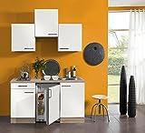idealShopping Singelküche mit Elektrogeräten Dakar in weiß 150 cm breit