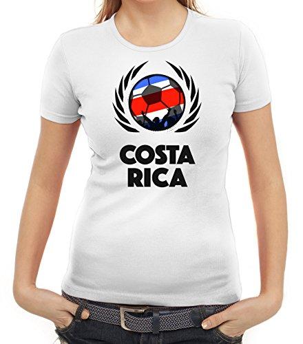 ShirtStreet World Cup Wappen Soccer Fussball WM Fanfest Gruppen Fan Wappen Damen T-Shirt Fußball Costa Rica Weiß