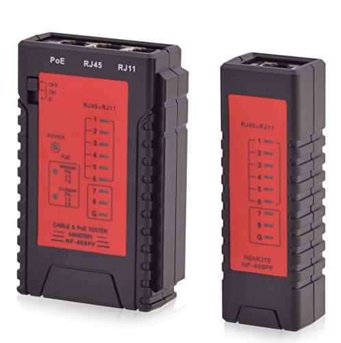 Intratec Netzwerk Kabeltester RJ11 / RJ45 PoE Kabel Netzwerktester - Kabelprüfer Patchkabel Ethernet DSL ISDN