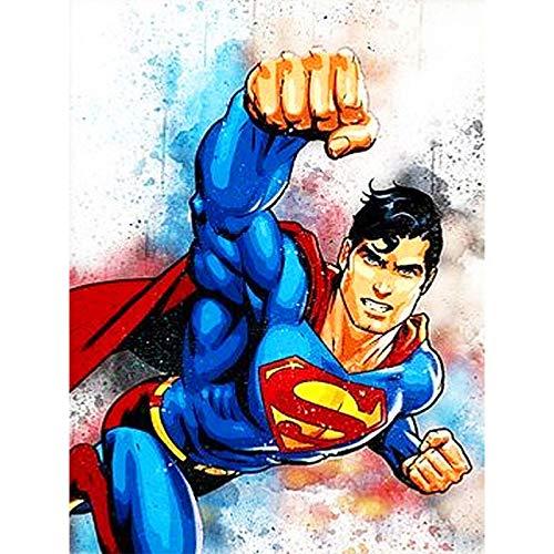 DIY 5D Diamant Gemälde Garten nach Zahlen, Gemälde Kreuzstich Full Drill Kristall Strass Stickerei Bilder Kunst Handwerk für Zuhause Wand Dekoration Geschenk 30,5 x 40,6 cm Superman (Wand-kunst Superman)