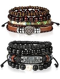 Cupimatch 8 Pcs Wrap Leather Wristbands Bracelets, Wood Beads Bracelets for Men Women 7-11 inches Adjustable