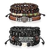 Cupimatch 8pcs Wrap Cuir Bracelets Bracelets, Bracelets de Perles en Bois pour Homme Femme 7–27,9cm réglable