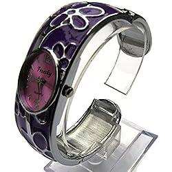 QBD Damen Geschnitzt Farbe Armband Damen Armbanduhr Mode Uhr Beauty Kleid Uhr Einzigartiges Design-Violett