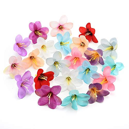 Nwsx fiori di seta fiori finti teste di orchidee testa di fiore di rosa artificiale in seta per decorazione di nozze fiori finti artigianali fai da te 50 pezzi 5 cm (multicolor)