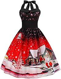 Partykleider Damen Elegant Weihnachten Neckholder Rückenfrei Sexy Kleid  Vintage Ärmellos Knielang A Linie Drucken Abendkleid Swing ed8cb77abd