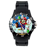 Reloj de cuarzo TAPORT MARIO - Reloj cuadrado con correa de silicona negra + pila de recambio + bolsa de regalo.