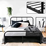 Double Bed Frame Coavas 4ft 6 Bed Frame with 2 headboard King Size Metal bed Frame Black