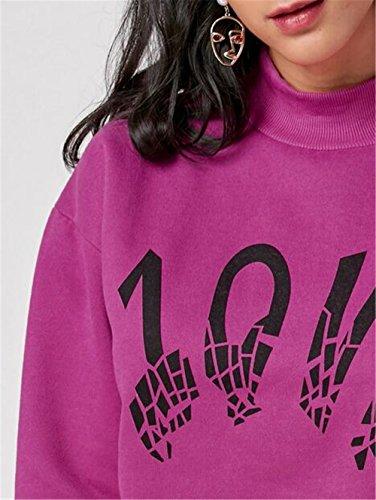 Gogofuture Casual Donna Felpe Stampata Lettera Maniche Lunghe a Pipistrello Pullover Oversize Sweatshirt Maglia Blusa Tops Purple