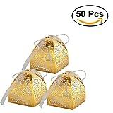 Wedding Favors Geschenkboxen 50 Stück hohle aus Handwerk Papier Hochzeit Geschenkbox für Süßigkeiten Süßigkeiten mit Bändern (golden)