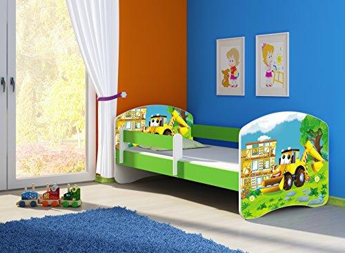 Clamaro 'Fantasia Grün' 140 x 70 Kinderbett Set inkl. Matratze und Lattenrost, mit verstellbarem Rausfallschutz und Kantenschutzleisten, Design: 20 Bagger