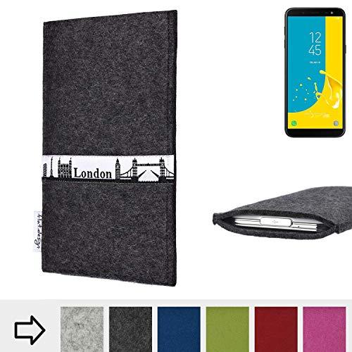 flat.design für Samsung Galaxy J6 (2018) Schutztasche Handy Hülle Skyline mit Webband London - Maßanfertigung der Schutzhülle Handy Tasche aus 100% Wollfilz (anthrazit) für Samsung Galaxy J6 (2018)