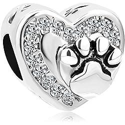 Sug Jasmin–Juego de corazón amor encanto de huellas de perro de mascota/Cat cuentas para pulsera