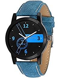 Golden Bell Matrix Multicolor Dial Blue Denim Strap Analog Wrist Watch For Men - GB-839