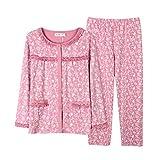 Pyjama-Set Damen Elegante Longsleeve Pyjama Blumenprint Frühling Button Jungen Chic Herbst Homewear Nachtwäsche Fashion Nachthemd Schlafanzughose (Color : D, Size : M)
