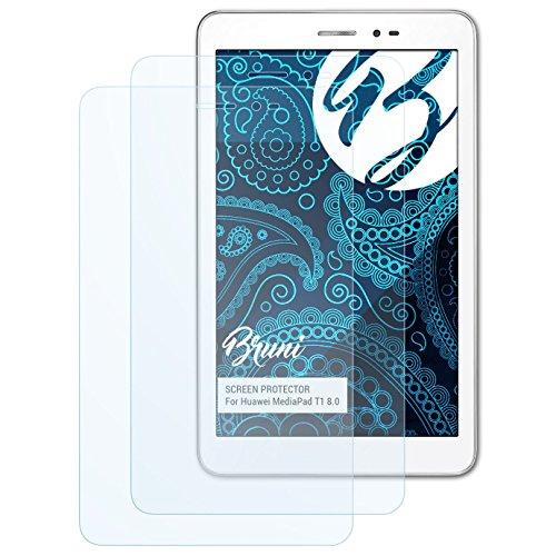 Bruni Schutzfolie für Huawei MediaPad T1 8.0 Folie, glasklare Bildschirmschutzfolie (2X)